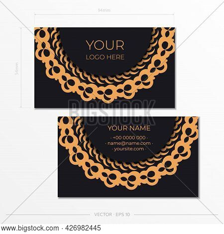 Black Presentable Business Cards With Decorative Ornaments Business Cards, Oriental Pattern, Illustr