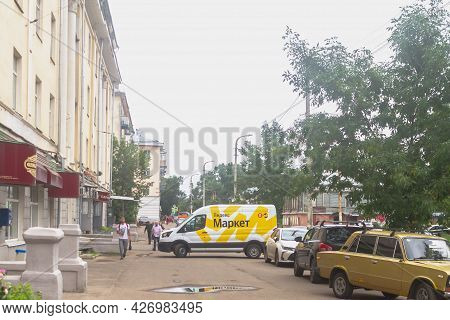 Russia Kostroma 07 02 2021 A Gazelle Truck Of The Yandex Market Delivery Service Is Parked In The To
