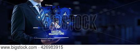 Digital Marketing Online Internet Seo Sem Smm. Businessman Pressing Button On Screen