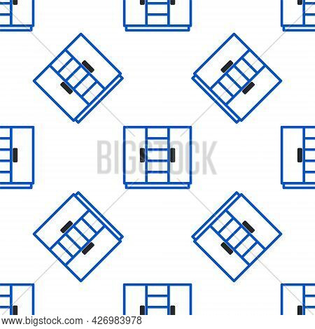 Line Wardrobe Icon Isolated Seamless Pattern On White Background. Colorful Outline Concept. Vector