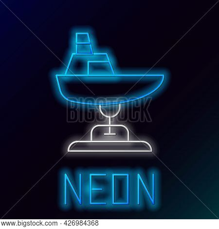 Glowing Neon Line Swing Boat On The Playground Icon Isolated On Black Background. Childrens Carousel