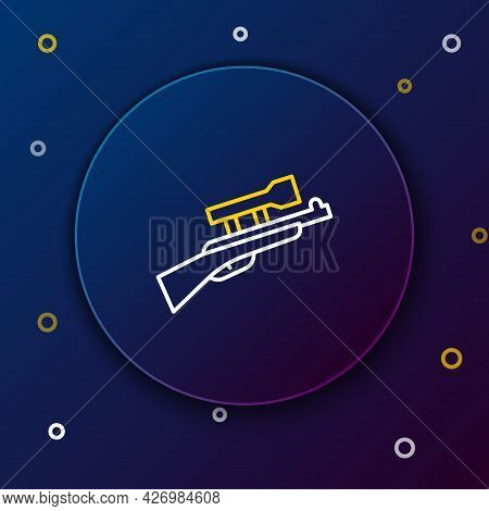 Line Sniper Rifle With Scope Icon Isolated On Blue Background. Colorful Outline Concept. Vector