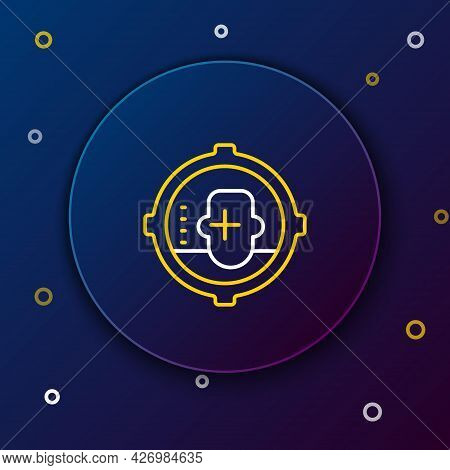 Line Headshot Icon Isolated On Blue Background. Sniper And Marksman Is Shooting On The Head Of Man,