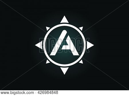 Initial A Monogram Letter Alphabet In A Compass. Font Emblem. Compass Logo Sign Symbol. Modern Vecto