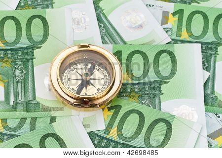 100 euro banknotes with a compass