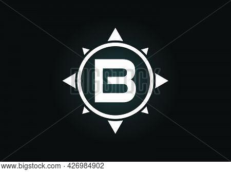 Initial B Monogram Letter Alphabet In A Compass. Font Emblem. Compass Logo Sign Symbol. Modern Vecto