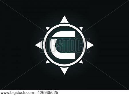 Initial C Monogram Letter Alphabet In A Compass. Font Emblem. Compass Logo Sign Symbol. Modern Vecto