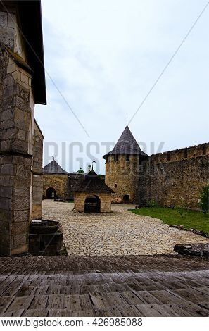Khotyn, Ukraine-may 14, 2021:amazing Landscape View Of Courtyard With Ancient Stone Buildings In The