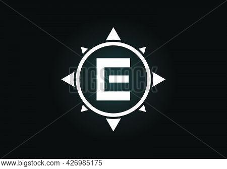 Initial E  Monogram Letter Alphabet In A Compass. Font Emblem. Compass Logo Sign Symbol. Modern Vect