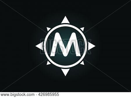 Initial M Monogram Letter Alphabet In A Compass. Font Emblem. Compass Logo Sign Symbol. Modern Vecto