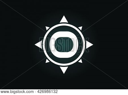 Initial O Monogram Letter Alphabet In A Compass. Font Emblem. Compass Logo Sign Symbol. Modern Vecto