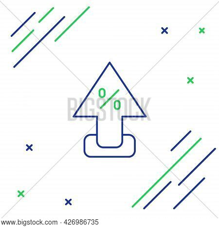 Line Percent Up Arrow Icon Isolated On White Background. Increasing Percentage Sign. Colorful Outlin