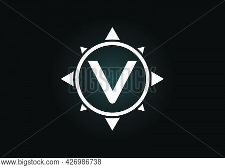 Initial V Monogram Letter Alphabet In A Compass. Font Emblem. Compass Logo Sign Symbol. Modern Vecto
