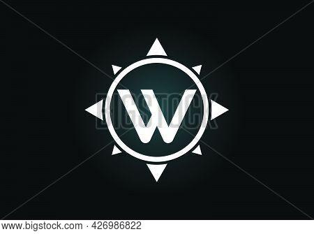 Initial W Monogram Letter Alphabet In A Compass. Font Emblem. Compass Logo Sign Symbol. Modern Vecto