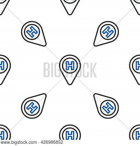 Line Helicopter Landing Pad Icon Isolated Seamless Pattern On White Background. Helipad, Area, Platf