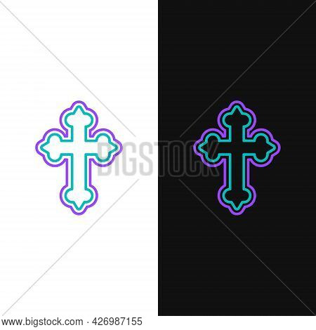 Line Christian Cross Icon Isolated On White And Black Background. Church Cross. Colorful Outline Con