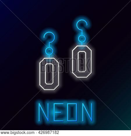 Glowing Neon Line Earrings Icon Isolated On Black Background. Jewelry Accessories. Colorful Outline