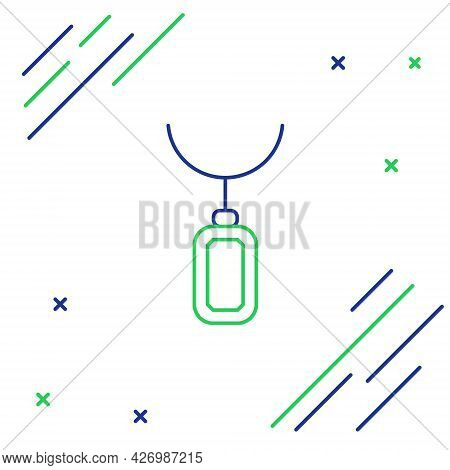 Line Pendant On Necklace Icon Isolated On White Background. Colorful Outline Concept. Vector
