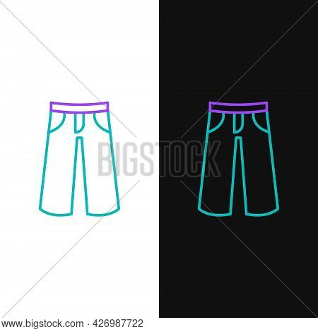 Line Pants Icon Isolated On White And Black Background. Trousers Sign. Colorful Outline Concept. Vec