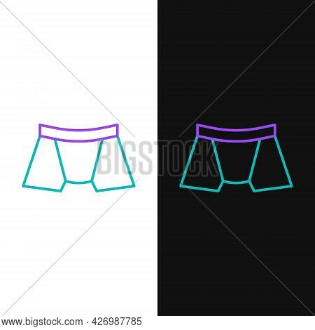Line Men Underpants Icon Isolated On White And Black Background. Man Underwear. Colorful Outline Con