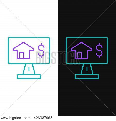 Line Online Real Estate House In Browser Icon Isolated On White And Black Background. Home Loan Conc