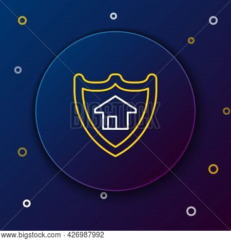 Line House With Shield Icon Isolated On Blue Background. Insurance Concept. Security, Safety, Protec