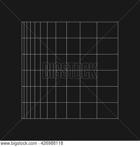 Retrofuturistic Logarithmic Grid. Digital Cyber Retro Design Element. Grid In Cyberpunk 80s Style. R