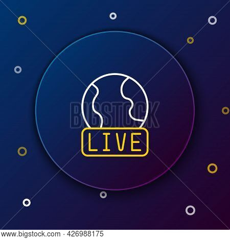 Line Live Report Icon Isolated On Blue Background. Live News, Hot News. Colorful Outline Concept. Ve