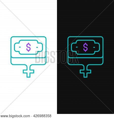Line Money Growth Woman Icon Isolated On White And Black Background. Income Concept. Business Growth