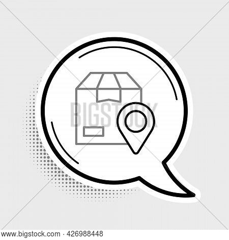 Line Location With Cardboard Box Icon Isolated On Grey Background. Delivery Services, Logistic And T