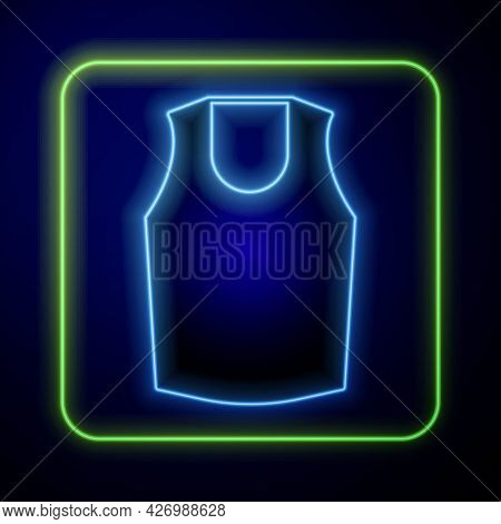 Glowing Neon Undershirt Icon Isolated On Blue Background. Vector