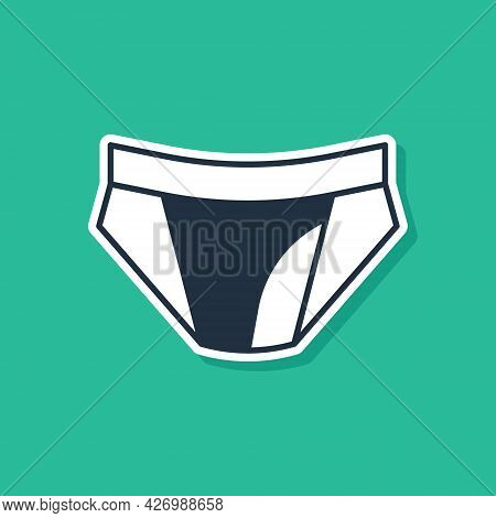 Blue Men Underpants Icon Isolated On Green Background. Man Underwear. Vector