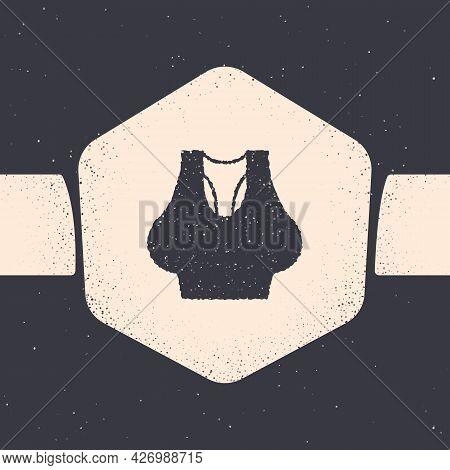 Grunge Undershirt Icon Isolated On Grey Background. Monochrome Vintage Drawing. Vector