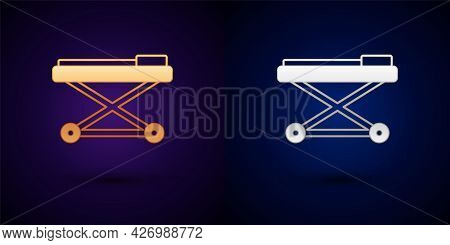 Gold And Silver Stretcher Icon Isolated On Black Background. Patient Hospital Medical Stretcher. Vec