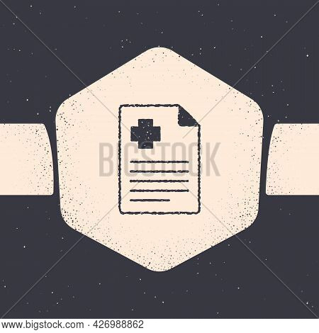Grunge Medical Clipboard With Clinical Record Icon Isolated On Grey Background. Prescription, Medica