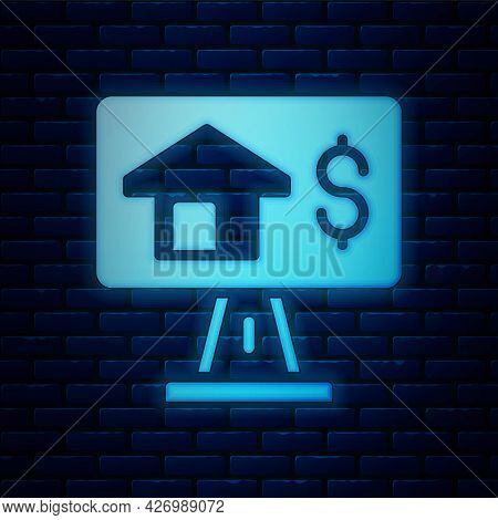Glowing Neon Online Real Estate House In Browser Icon Isolated On Brick Wall Background. Home Loan C