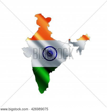India Map. Stylized Country Flag. State Territory. 3d. Vector Illustration.