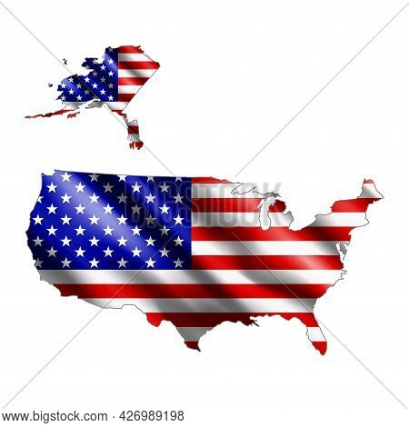 Usa Map. Stylized Country Flag. State Territory. 3d. Vector Illustration.