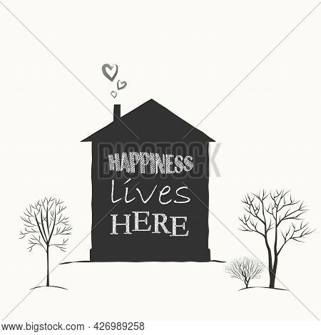 An Icon Made Of Black Characters, Text. The Silhouette Of A House And Trees On A White Background.