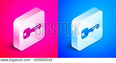 Isometric House Key Icon Isolated On Pink And Blue Background. Silver Square Button. Vector