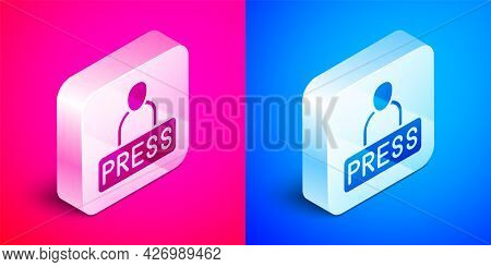 Isometric Journalist News Reporter Icon Isolated On Pink And Blue Background. Silver Square Button.