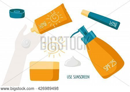 Use Sunscreen. Woman Applying Sunscreen Product On Hand Skin. Skin Care And Uv Protection With Spf.