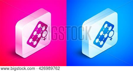 Isometric Packaging Of Birth Control Pills Icon Isolated On Pink And Blue Background. Contraceptive