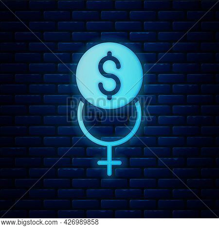 Glowing Neon Feminism Finance Icon Isolated On Brick Wall Background. Fight For Freedom, Independenc