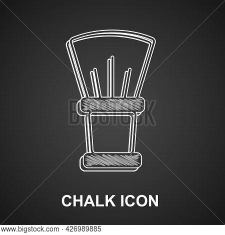 Chalk Shaving Brush Icon Isolated On Black Background. Barbershop Symbol. Vector