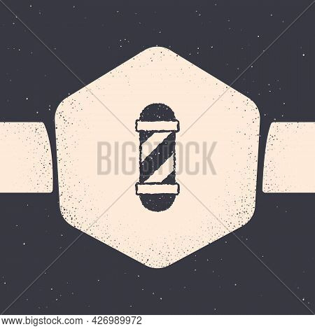 Grunge Classic Barber Shop Pole Icon Isolated On Grey Background. Barbershop Pole Symbol. Monochrome