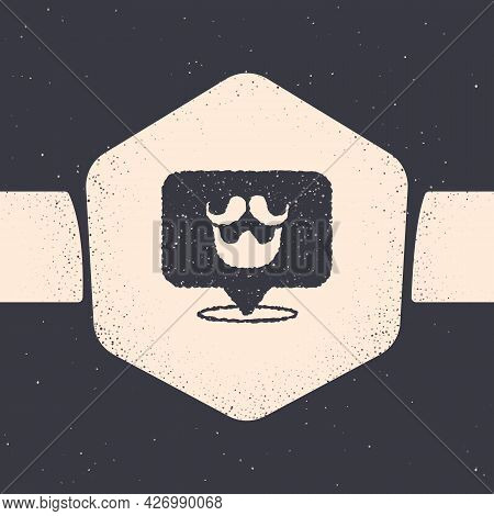 Grunge Barbershop Icon Isolated On Grey Background. Hairdresser Logo Or Signboard. Monochrome Vintag
