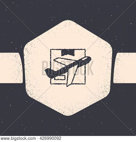 Grunge Plane And Cardboard Box Icon Isolated On Grey Background. Delivery, Transportation. Cargo Del