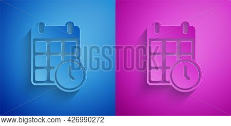Paper Cut Carton Cardboard Box And Fast Time Delivery Icon Isolated On Blue And Purple Background. B