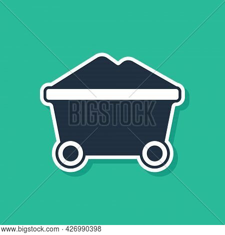 Blue Coal Mine Trolley Icon Isolated On Green Background. Factory Coal Mine Trolley. Vector